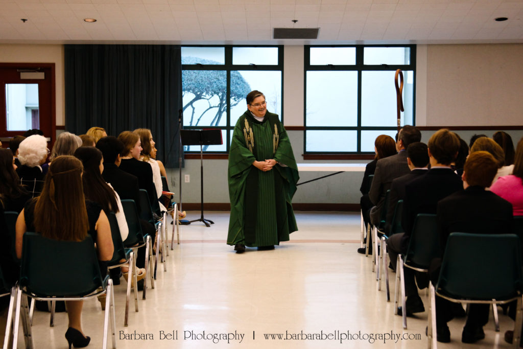 Bishop William Justice speaking to Confirmation students | Barbara Bell Photography