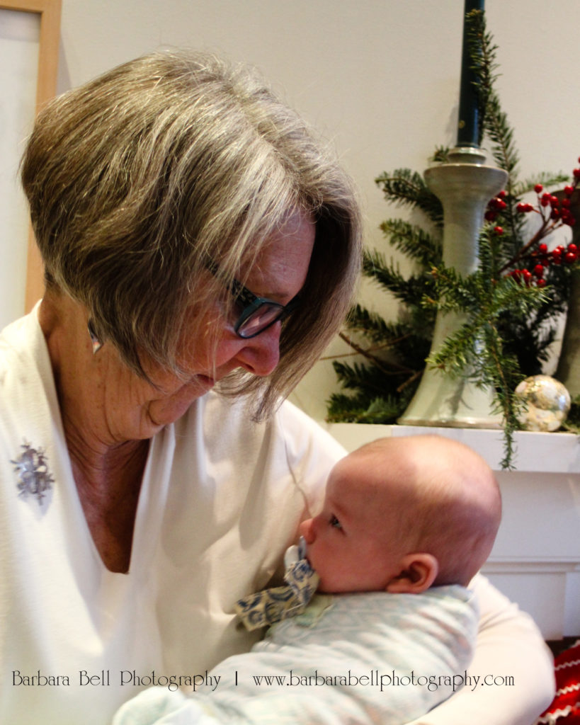 A portrait of a grandmother and her grandson on Christmas Eve