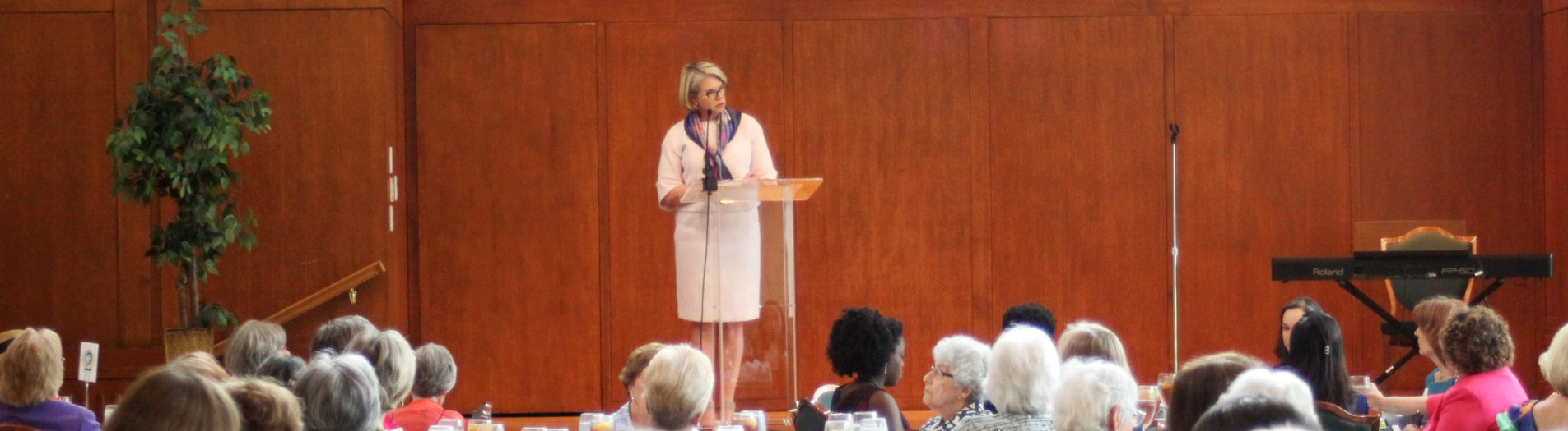 Margaret Spellings speaks at the Carolina Club in Chapel Hill, NC