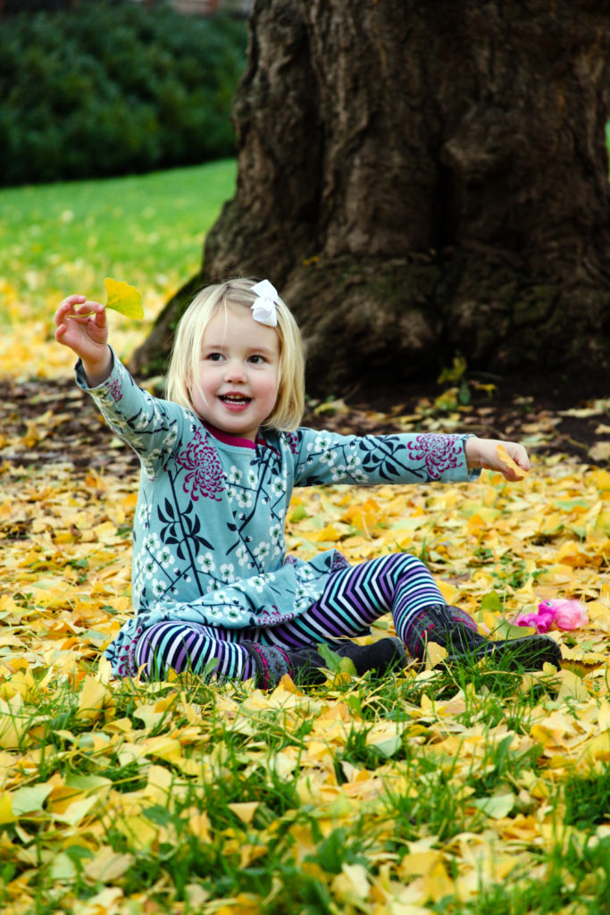 A toddler and her fall portrait session in Belmont, CA was great fun with Barbara Bell Photography.